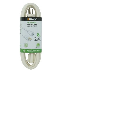 Woods 8' Outdoor Extension Cord White