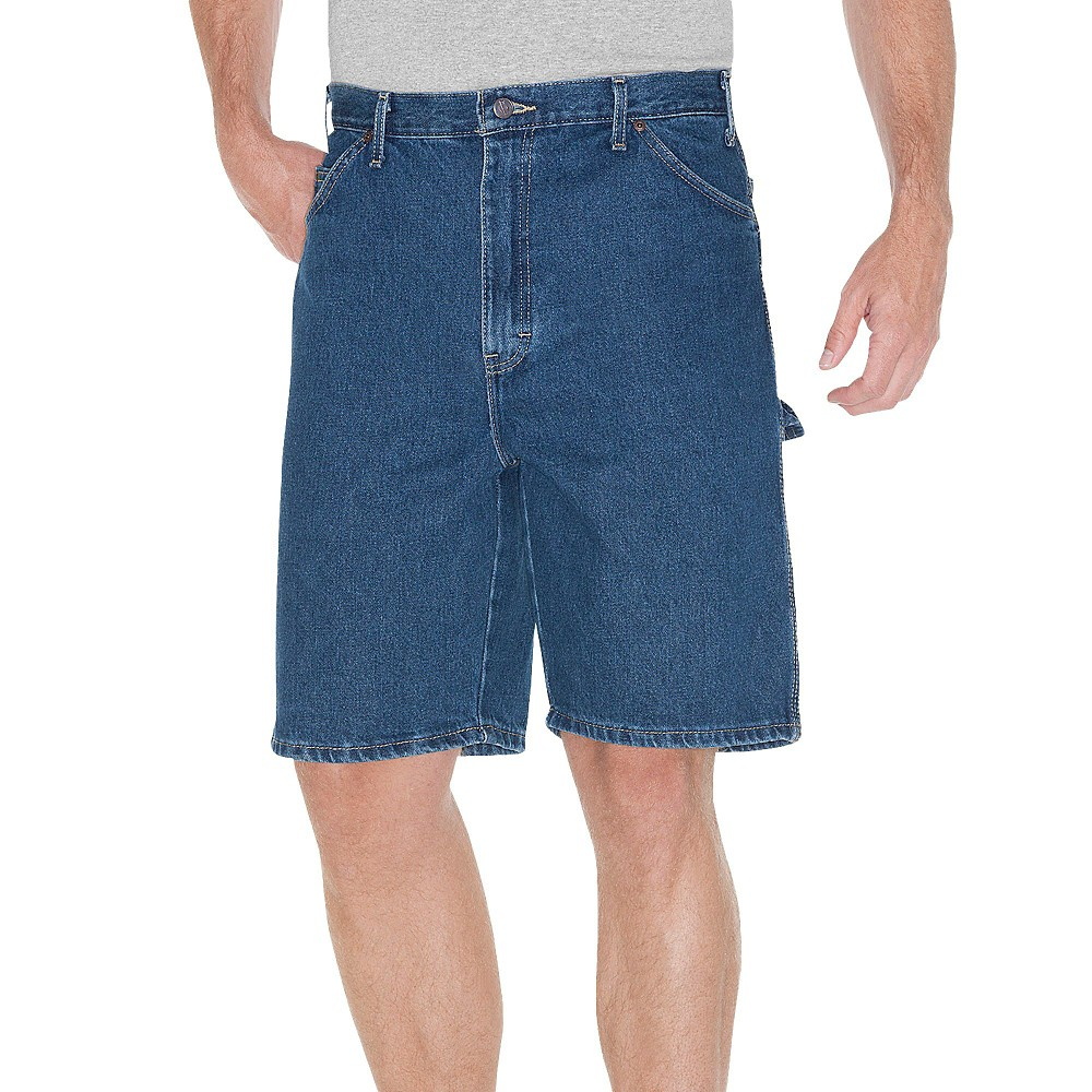 Dickies Men's Big & Tall Relaxed Fit Denim 9.5 Carpenter Shorts- Stone Washed 48, Blue