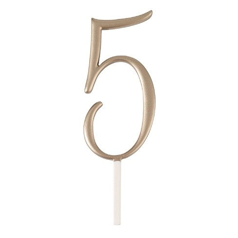 Lillian Rose Gold Monogram Number 5 Cake Topper - image 1 of 1