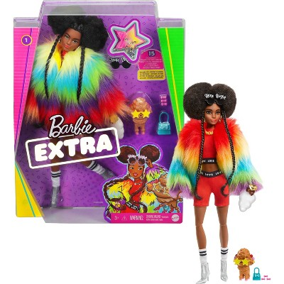Barbie Extra Doll #1 in Furry Rainbow Coat with Pet Poodle