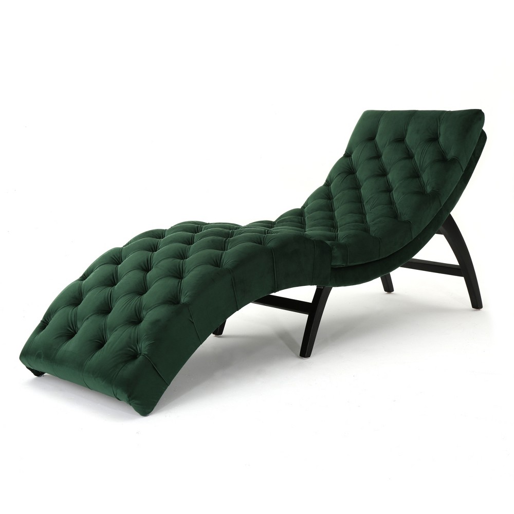 Garret Tufted Chaise Lounge Emerald (Green) - Christopher Knight Home