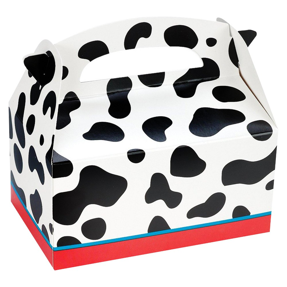 8 ct Cow Print Favor Boxes, Multi-Colored