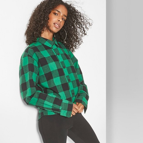 Women's Plaid Long Sleeve Cropped Button-Down Shirt - Wild Fable™ Forest Green - image 1 of 3