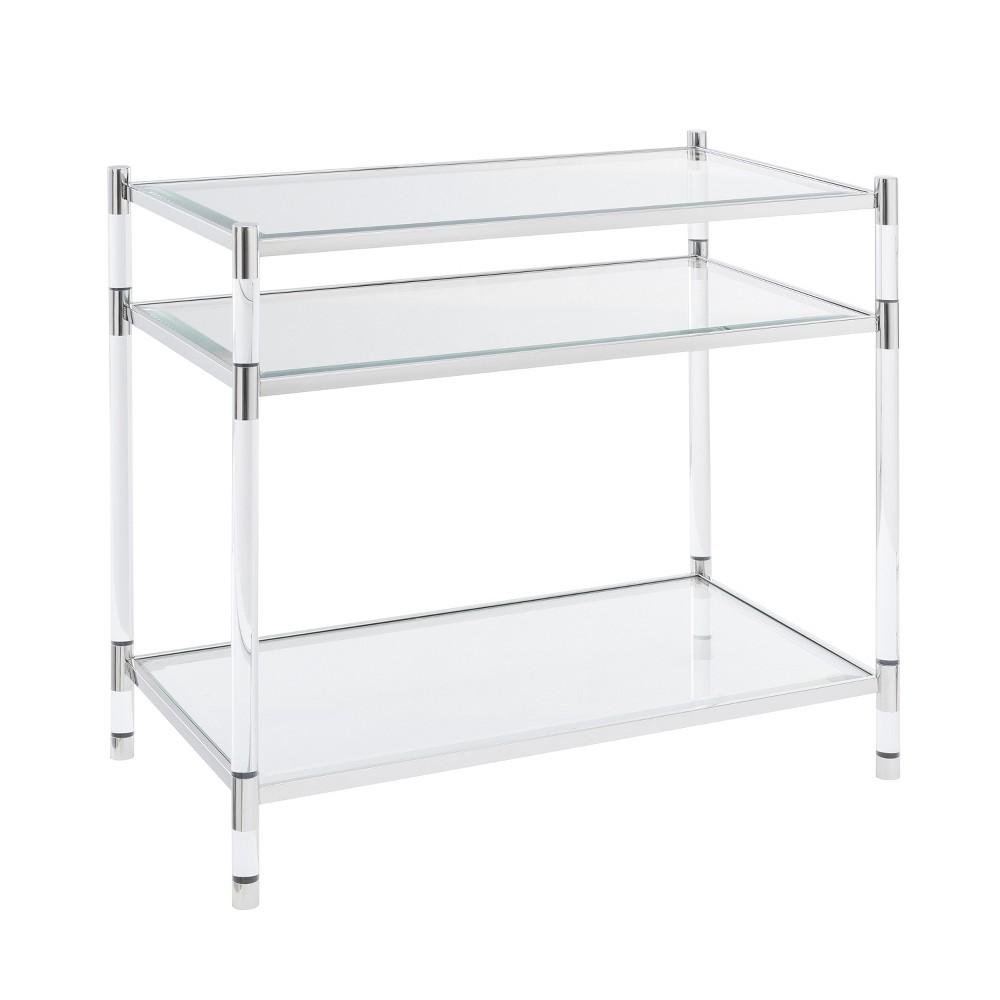 Ceili Acrylic Accent Table Silver - Aiden Lane
