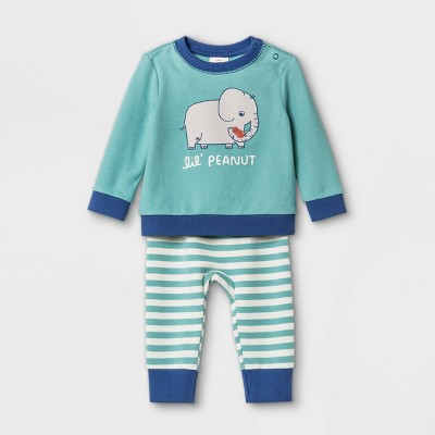 Baby Lil Peanut Top & Bottom Set - Cat & Jack™ Green 0-3M