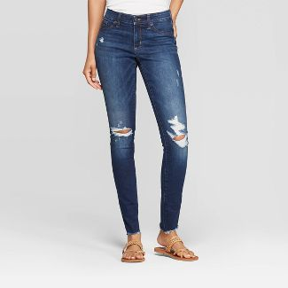 Women's Mid-Rise Distressed Jeggings - Universal Thread™ Dark Wash 8