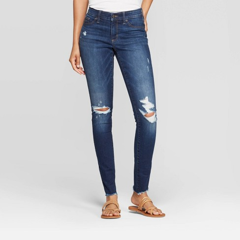Women's Mid-Rise Distressed Jeggings - Universal Thread™ Dark Wash - image 1 of 6