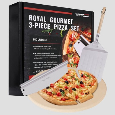 Royal Gourmet 3pc Pizza Set for Grill Oven With 14'' Round Pizza Cordierite Stone