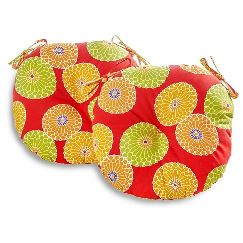 Outdoor Bistro Chair Cushion Set - Flowers On Red - Greendale Home Fashions - image 1 of 3