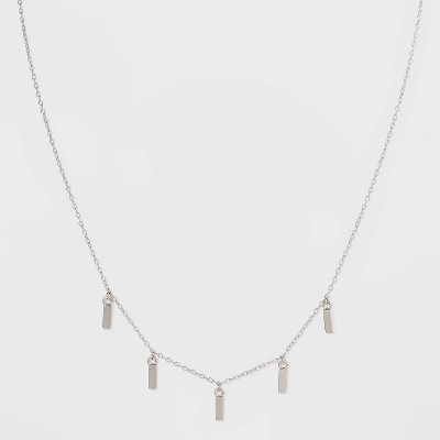 Sterling Silver Thin Dangle Bar Station Necklace - Universal Thread™ Silver