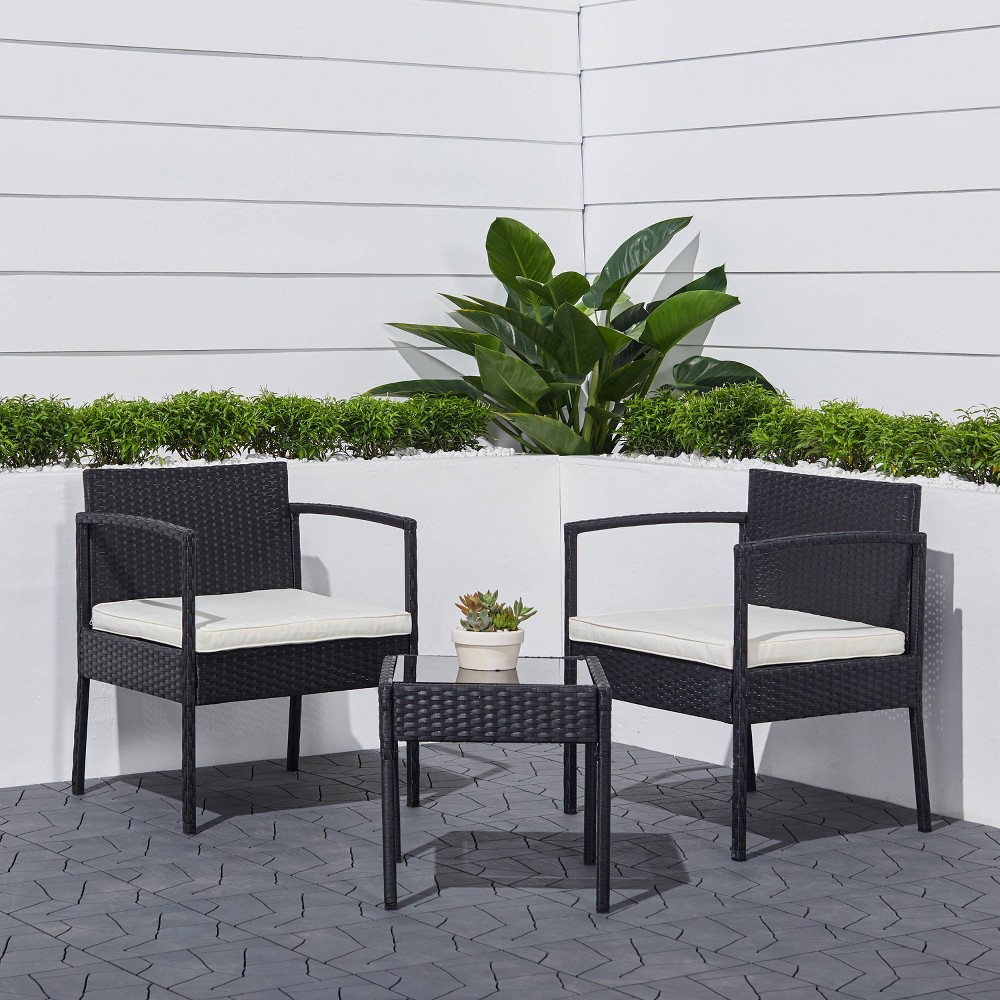 Tierra 3pc Classic Outdoor Wicker Coffee Lounger Set with Cushion - Black - Vifah