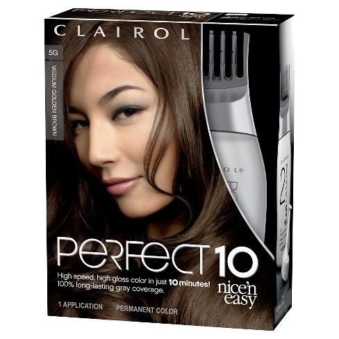 Nice 'n Easy Clairol Perfect 10 by Hair Color - 5G Medium Golden Brown - 1 Kit - image 1 of 2