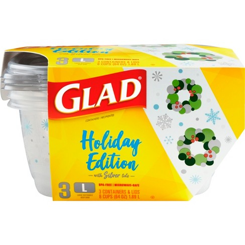 Glad Food Storage Containers - Deep Dish Container - Holiday Edition - 64oz/3ct - image 1 of 4