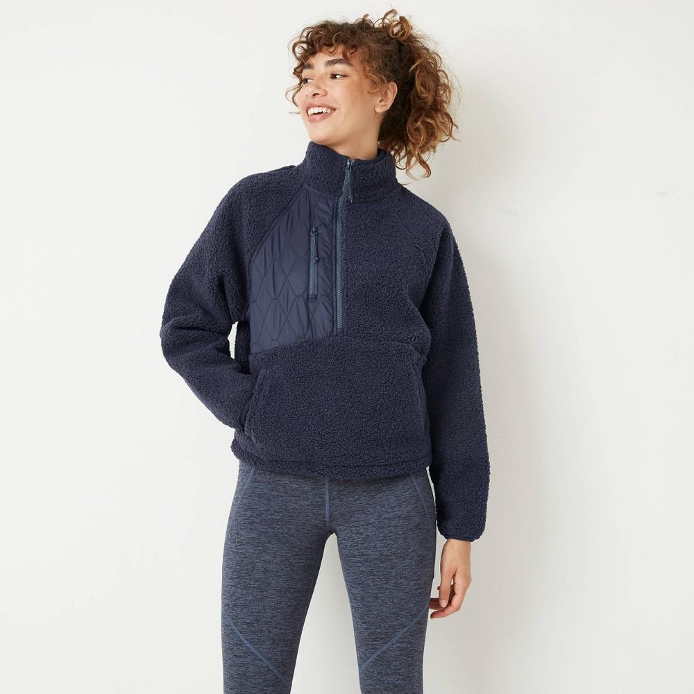 Cheap Woen's 1/2 Zip Sherpa Pullover Sweatshirt - JoyLab™