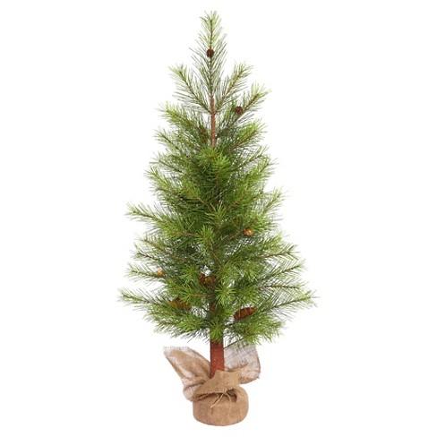 4ft Unlit Artificial Christmas Tree Slim Porch Pot Pine Burlap Base ...