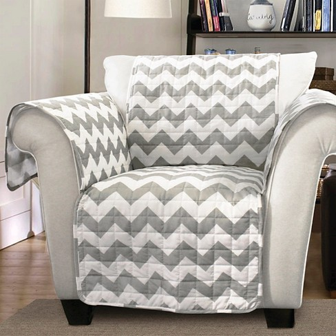 Gray/White Chevron Furniture Protector Gray/ White Armchair Slipcover - image 1 of 1