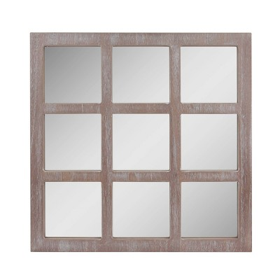 "23.5"" x 23.5"" Rustic 9-Panel Window Pane Decorative Wall Mirror White - Stonebriar Collection"