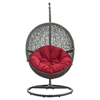 Hide Outdoor Patio Swing Chair In Gray Red   Modway : Target