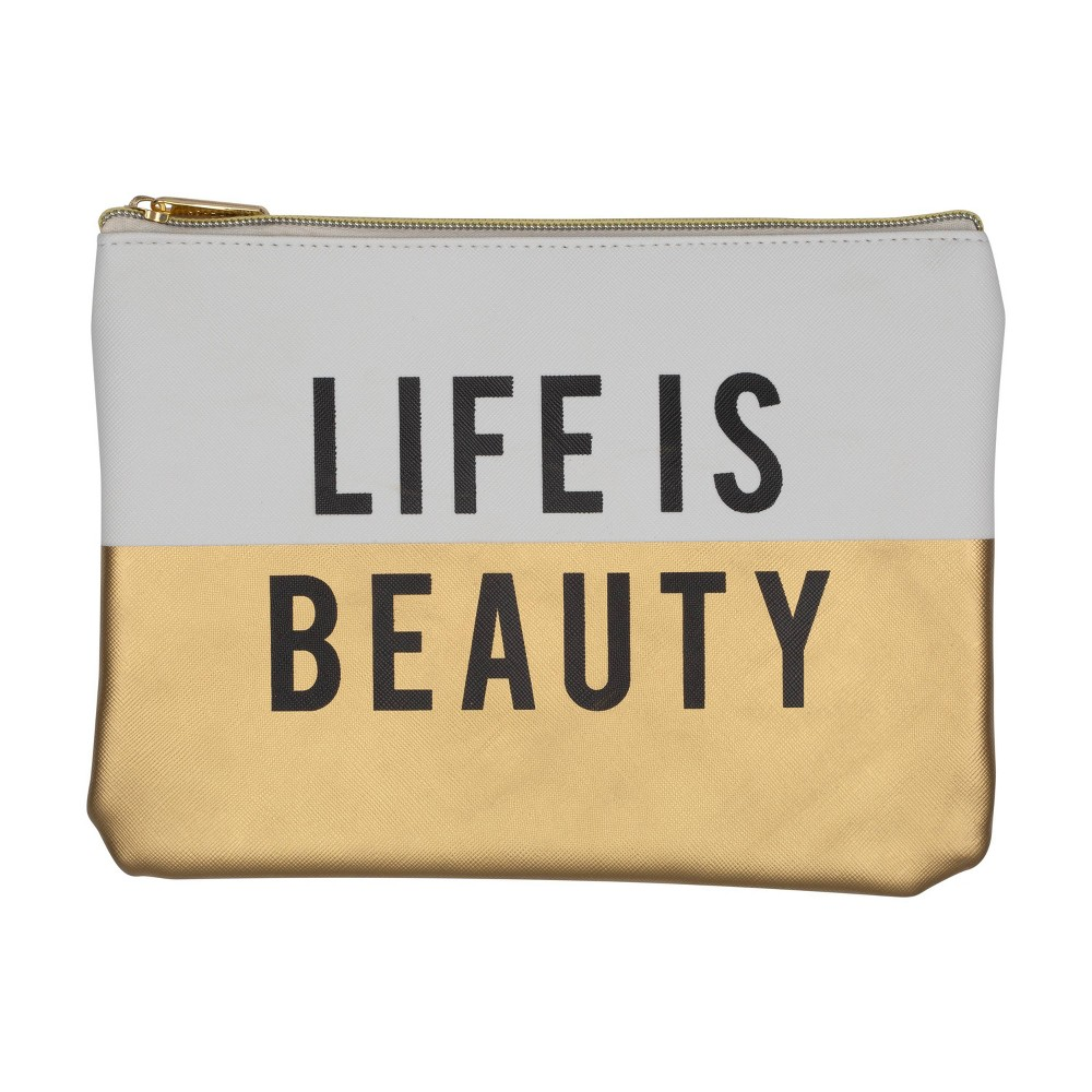 Image of Ruby+Cash Faux Leather Makeup Bag & Organizer - Life Is Beauty Color Block