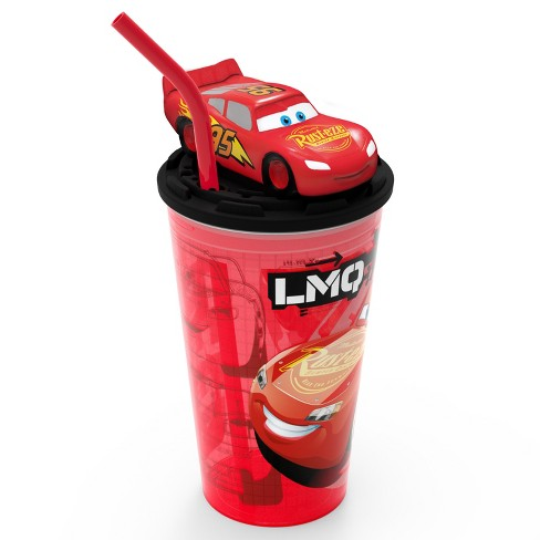 Cars Lightning McQueen Zak Designs 15oz Plastic Cup With Lid And Straw Red/Black - image 1 of 5