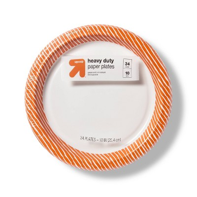 """Disposable Dinnerware Plate - Orange & White - 34ct - 10.0"""" - up & up™"""