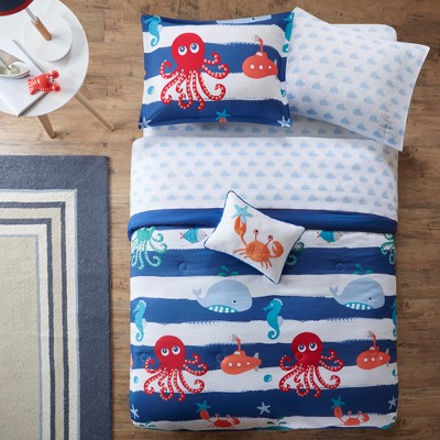 Walter the Whale Blue Bed and Sheet Set (Twin)