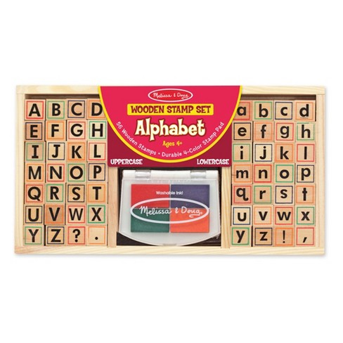 Melissa & Doug® Wooden Alphabet Stamp Set - 56 Stamps With Lower-Case and Capital Letters - image 1 of 6