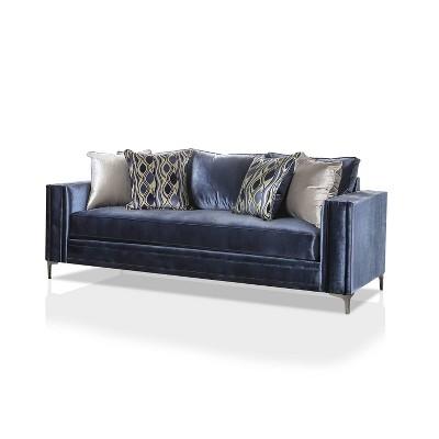 Gully Chrome Legs Sofa Satin Blue/Silver - miBasics