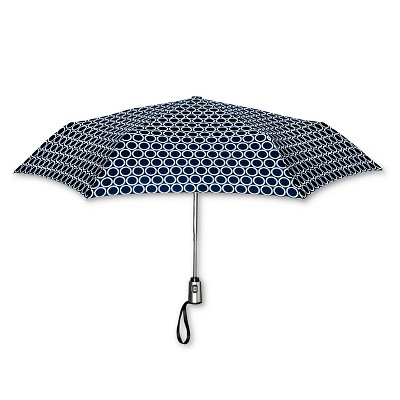 ShedRain Auto Open/Close Compact Umbrella  - Navy Polka Dot