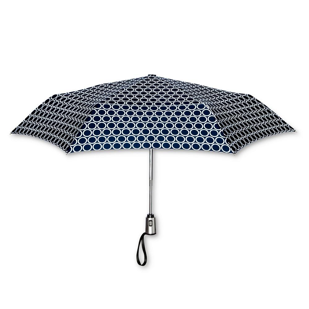 ShedRain Auto Open/Close Compact Umbrella - Navy (Blue) Polka Dot