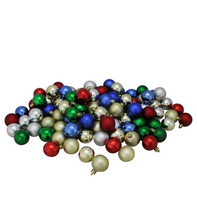 "Northlight 96ct Shatterproof 4-Finish Christmas Ball Ornament Set 1.5"" - Green/Red"