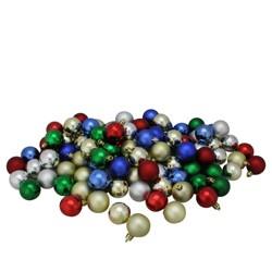 "Northlight 96ct Shatterproof 4-Finish Christmas Ball Ornament Set 1.5"" - Green/Red"