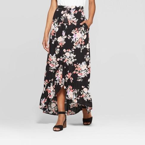 b7a7ba00d727a Women's Floral Print High Low Hem Button Front Maxi Skirt - Xhilaration™  Black