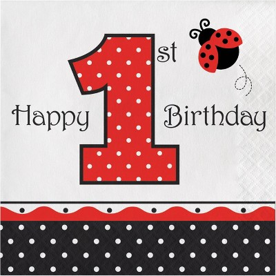 48ct Ladybug Fancy 1st Birthday Napkins