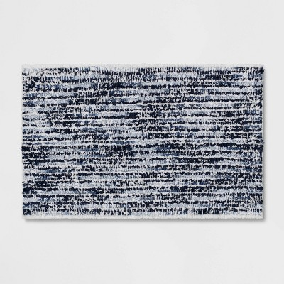 "20""x32"" Spacedye Striped Bath Rug Blue/White - Threshold™"