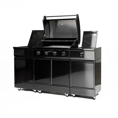 TYTUS 4-Burner  304 Gas Grill Island TI400SSBLP-3.4.1 Black Stainless Steel