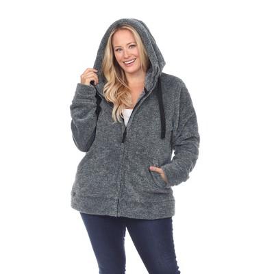 Plus Size Hooded Sherpa Jacket - White Mark
