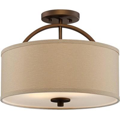 "Possini Euro Design Modern Ceiling Light Semi Flush Mount Fixture Brushed Bronze 15"" Wide Oatmeal Linen Drum for Bedroom Kitchen"