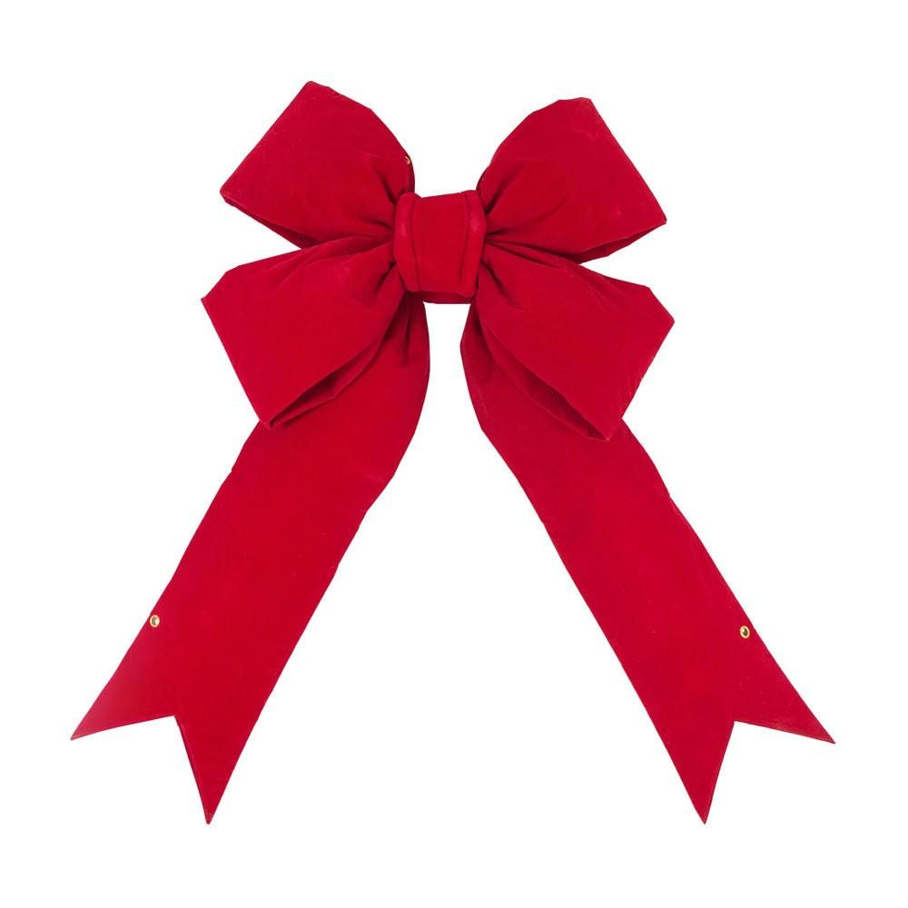 12 Christmas Velvet Decorative Bow Red