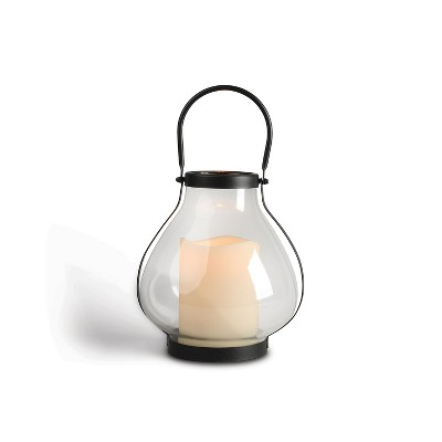 Everlasting Glow 10.3-Inch Tall Metal School House Lantern with LED Candle and 5-hour Time Feature