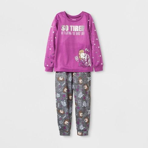 515bed54ddce Girls  Star Wars 2pc Pajama Set - Purple Gray   Target
