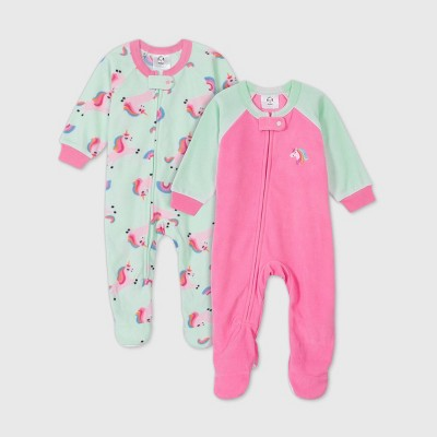 Gerber Baby Girls' 2pk Unicorn Footed Pajama - Pink 3-6M
