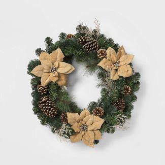 "28"" Christmas Burlap Poinsettia and Ornaments Artificial Pine Wreath - Wondershop™"