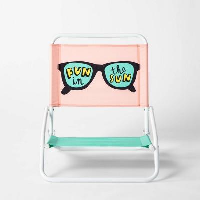 Fun in the Sun Beach Sand Chair Pink/Green - Sun Squad™
