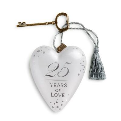 """DEMDACO 25 Years of Love Art Heart 4"""" - White"""