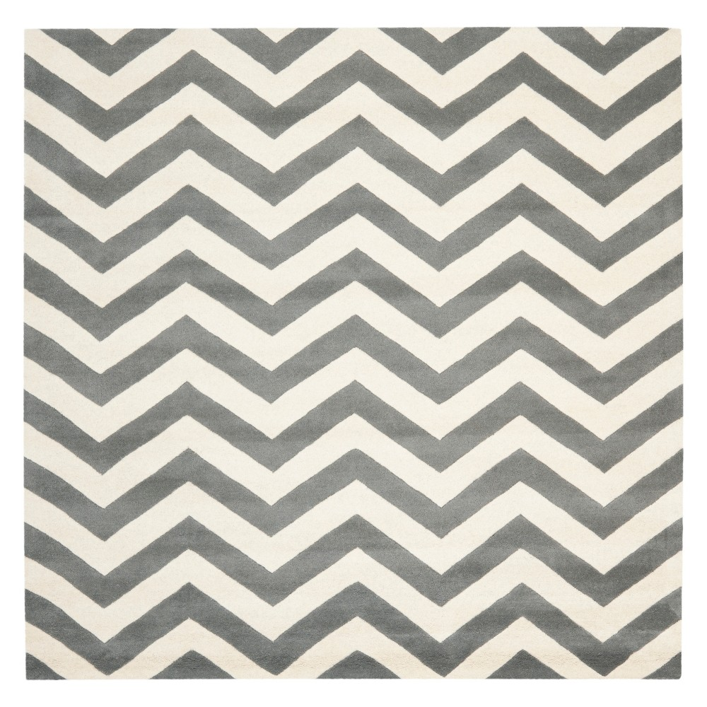 9'X9' Chevron Square Area Rug Dark Gray/Ivory - Safavieh