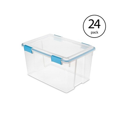 Sterilite 54 Quart Gasket Box Set in Clear with Blue Latches (24 Pack)