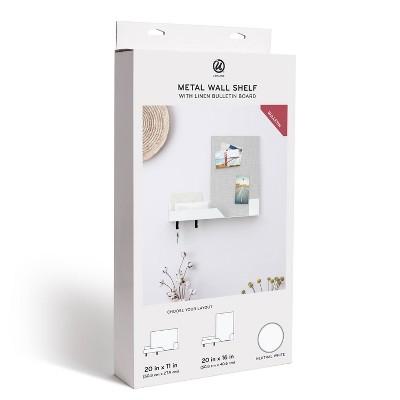 U Brands Metal Wall Shelf with Linen Bulletin Board - White