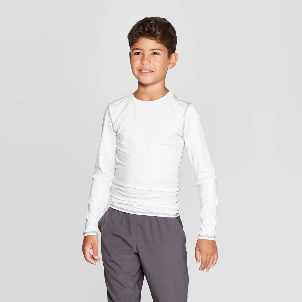 Image of Boys' Power Core Compression Long Sleeve T-Shirt - C9 Champion White L, Boy's, Size: Large