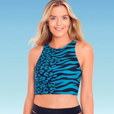 Women's Slimming Control High Neck Crop Bikini Top - Beach Betty by Miracle Brands